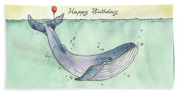 Whale Happy Birthday Card Bath Towel