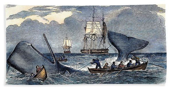 Whaling In South Pacific Bath Towel