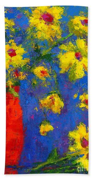Abstract Floral Art, Modern Impressionist Painting - Palette Knife Work Hand Towel