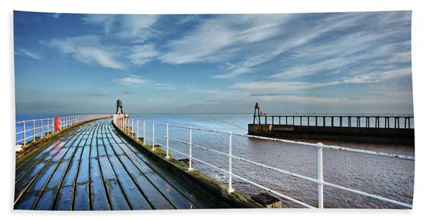 Whitby Piers Hand Towel