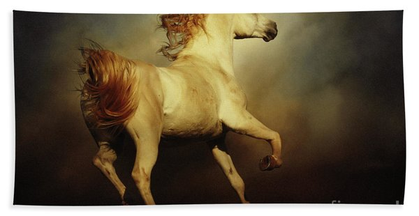 White Arabian Horse With Long Beautiful Mane Hand Towel