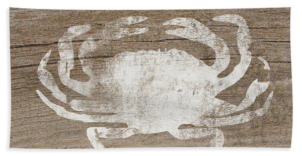 White Crab On Wood- Art By Linda Woods Hand Towel