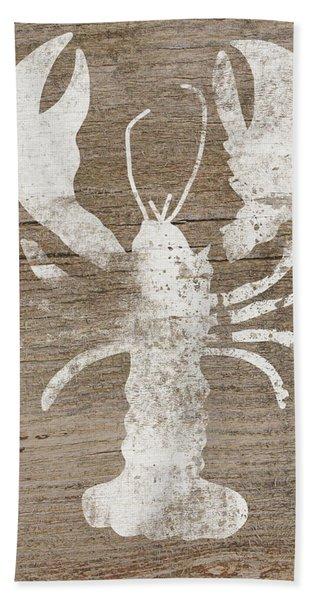 White Lobster On Wood- Art By Linda Woods Hand Towel