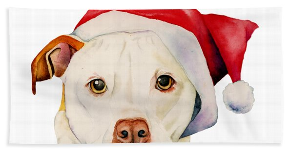 White Pit Bull Terrier Dog With Santa Hat Portrait Hand Towel