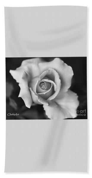 White Rose On Black Bath Towel