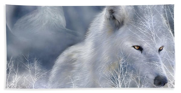 White Wolf Hand Towel