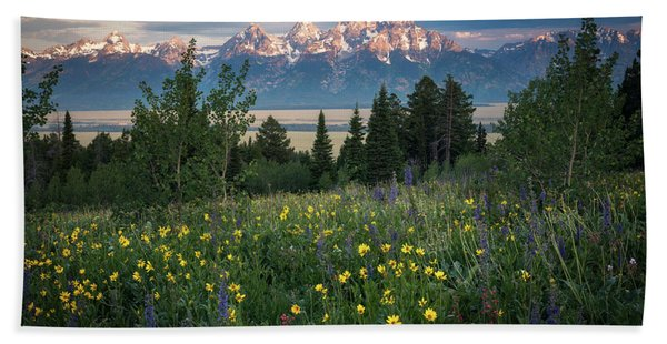 Hand Towel featuring the photograph Wildflowers At Grand Teton National Park by James Udall