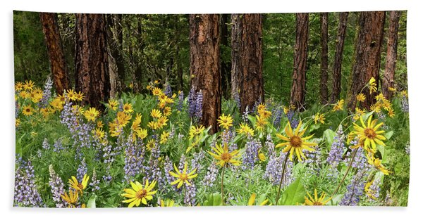 Balsamroot And Lupine In A Ponderosa Pine Forest Bath Towel