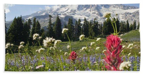 Wildflowers In Mount Rainier National Hand Towel