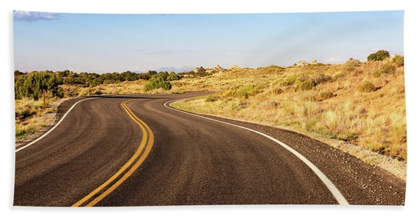 Winding Desert Road At Sunset Hand Towel