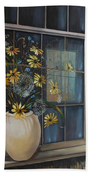 Hand Towel featuring the painting Window Dressing - Lmj by Ruth Kamenev