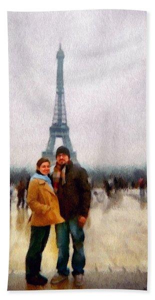 Winter Honeymoon In Paris Hand Towel