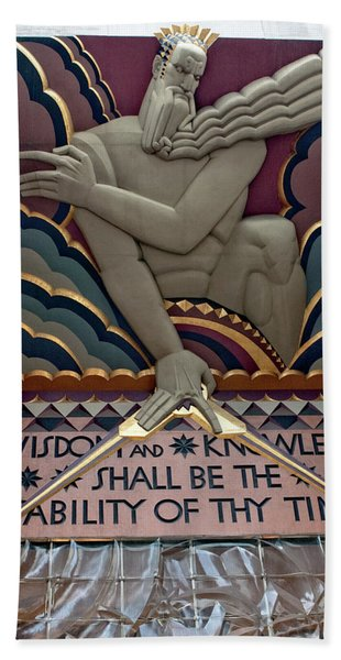 Bath Towel featuring the photograph Wisdom Lords Over Rockefeller Center by Lorraine Devon Wilke