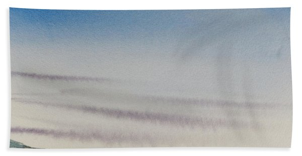 Wisps Of Clouds At Sunset Over A Calm Bay Hand Towel