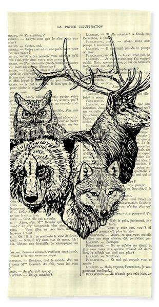 Wolf, Bear, Deer, Owl Wildlife Animals Black And White Bath Towel