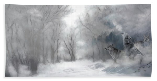 Wolves In The Mist Bath Towel