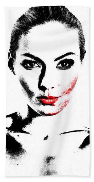 Woman Portrait In Art Look Bath Towel