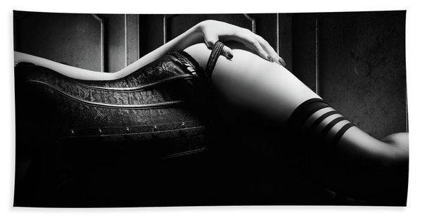 Woman With Black Corset Bath Towel