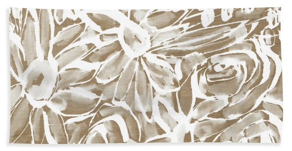 Wood And White Floral- Art By Linda Woods Hand Towel