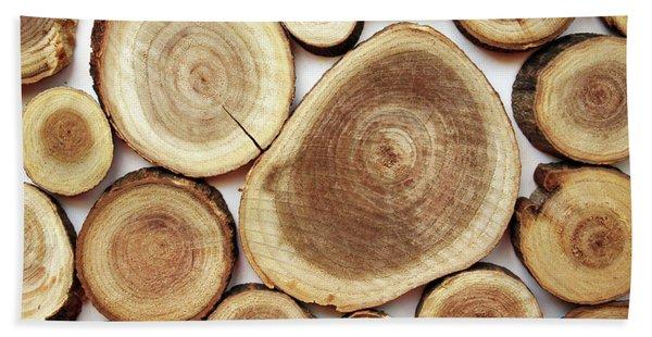 Wood Slices- Art By Linda Woods Hand Towel