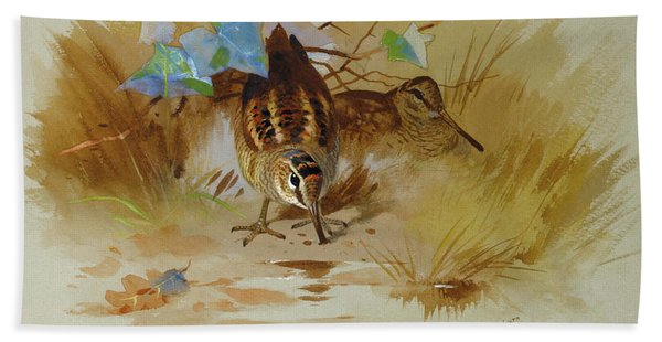 Woodcock In A Sandy Hollow By Thorburn Hand Towel