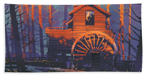 Hand Towel featuring the painting Wooden House by Tithi Luadthong
