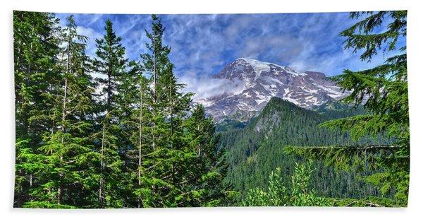 Woods Surrounding Mt. Rainier Hand Towel