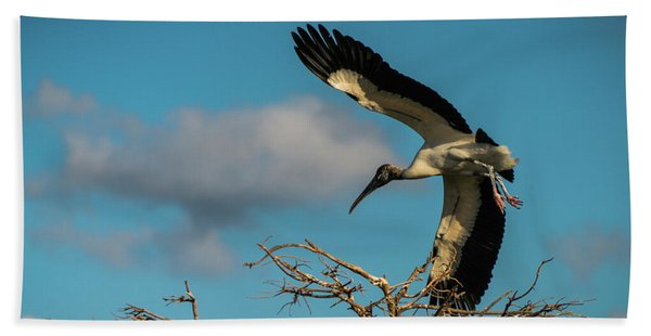 Woodstork In Flight Delray Beach Florida Bath Towel