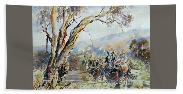 Working Clydesdale Pair, Australian Landscape. Bath Towel