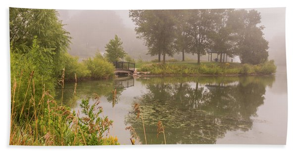 Bath Towel featuring the photograph Misty Pond Bridge Reflection #5 by Patti Deters