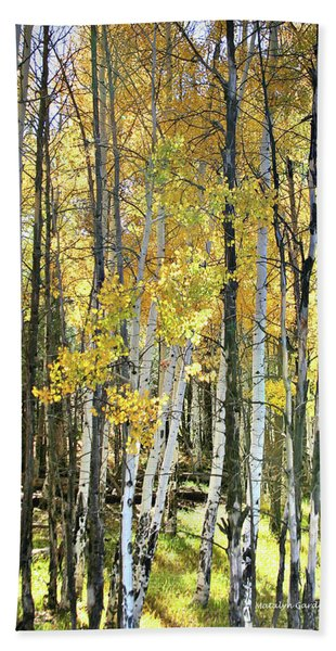 Yellow Aspens Hand Towel