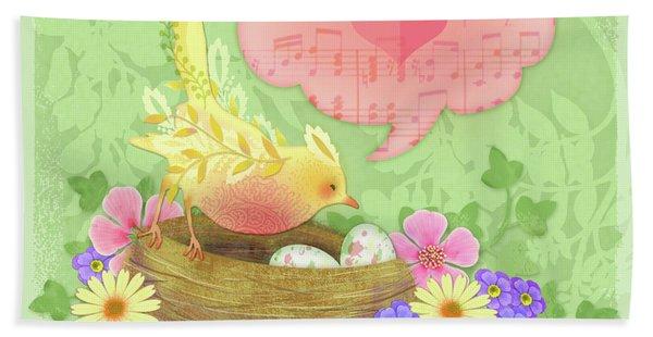 Yellow Bird's Love Song Hand Towel