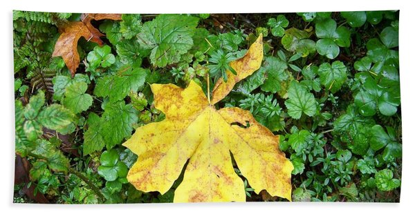 Yellow Maple Leaf Hand Towel