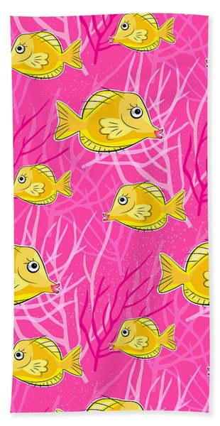 Yellow Tang In Pink Coral Sea Bath Towel
