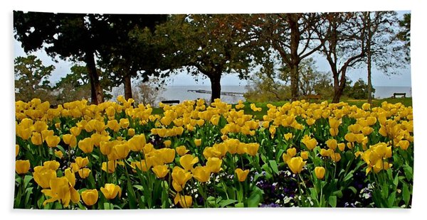 Yellow Tulips Of Fairhope Alabama Bath Towel