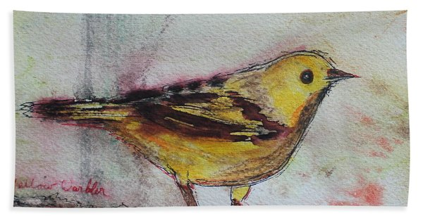 Hand Towel featuring the painting Yellow Warbler by Ruth Kamenev