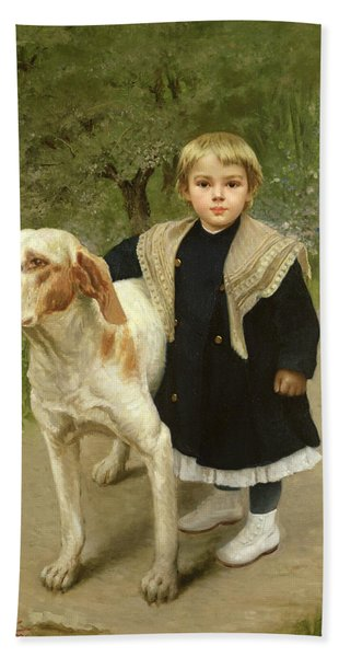 Young Child And A Big Dog Hand Towel