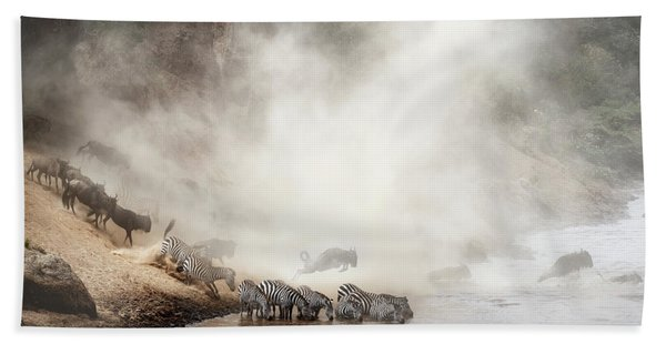 Zebra And Wildebeest Migration In Africa Hand Towel