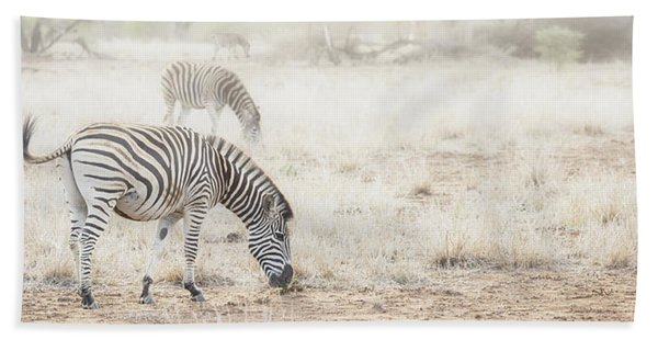 Zebras In Dreamy Scene - Horizontal Banner Hand Towel