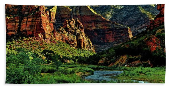 Zion Canyon River Hand Towel