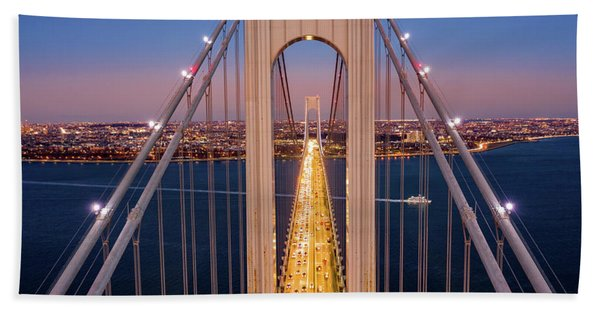 Hand Towel featuring the photograph Aerial View Of Verrazzano Narrows Bridge by Mihai Andritoiu