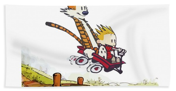 Calvin And Hobbes Riding Adventure Hand Towel