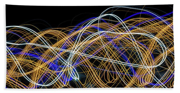 Colorful Light Painting With Circular Shapes And Abstract Black Background. Bath Towel