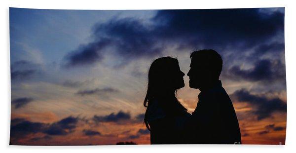 Couple With Cloud Sky Backlight Bath Towel