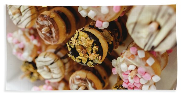 Donuts Of Different Flavors, To Put On An Unhealthy Diet Hand Towel