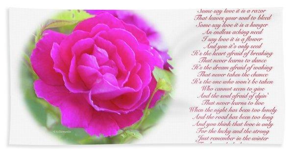 Pink Rose And Song Lyrics Bath Towel