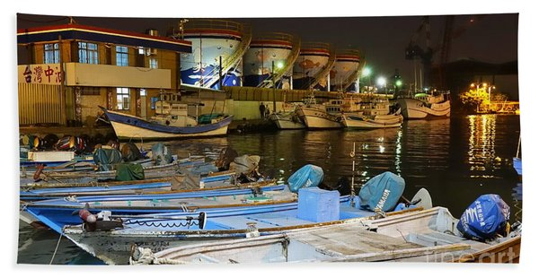 Small Fishing Harbor By Night In Taiwan Hand Towel