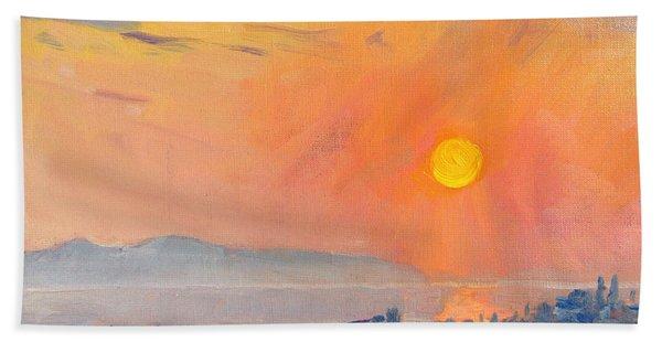 Sunrise Over Dilesi Athens  Bath Towel
