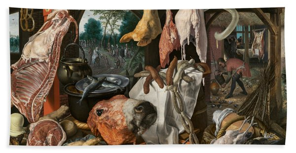 A Meat Stall With The Holy Family Giving Alms Hand Towel