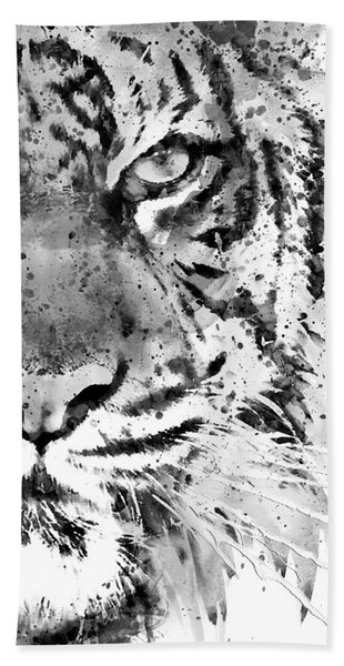 Black And White Half Faced Tiger Hand Towel